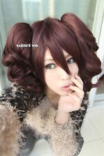 Persona 4 Rise Kujikawa dark brown cosplay wig / 2 curly wavy clips lolita wig