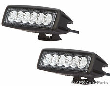 2x 18W 6 LED Slim Flood Beam Work Light Lamp Bar Tractor Jeep Truck Boat 12V 24V