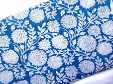 Indian Hand Block Print Cotton Fabric Floral 5 Yards Material  Natural Running A