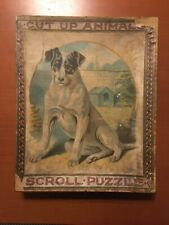 Dog & Cat Cut Up Animals Scroll Puzzles Antique 1890s Victorian Complete In Box