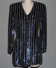 ESCADA Couture Navy Blue Black Silver Sequins Beads Above Knee Jacket Wms 34 VGC