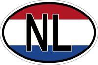 Sticker oval flag vinyl country code NL nertherlands