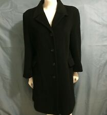 Calvin Klein Long Coat Women's Size 12 Black Angora Wool Button Front