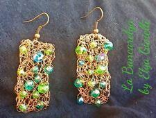Orecchini artigianali filigrana rame e cristalli earrings copper and crystals