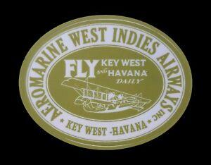 Aeromarine Key West Caribbean Hobo Sticker decal  Havana Airways flying boats