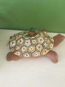 MacKenzie Childs Pottery Ceramic Terra Cotta Lidded Turtle Tureen with Ladle