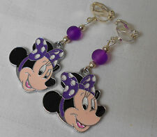 Handmade clip on girly earrings Disney Minnie Mouse purple silver plated M02