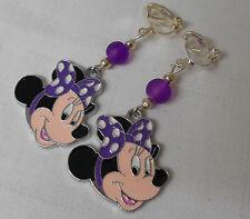 Hecho a mano pendientes de clip en Girly Disney Minnie Mouse Púrpura Plateado Plata