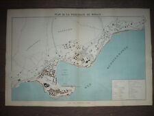 GRAND PLAN LITHOGRAPHIE ORIGINAL 1886 DE LA PRINCIPAUTÉ DE MONACO