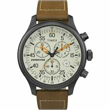 Timex TW2T73100, Field Expedition Chronograph Brown Leather Watch, Indiglo, Date