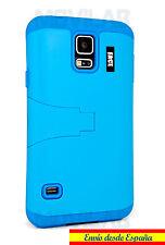 Funda Samsung G900 Galaxy S5 protectora / bumper con soporte azul cielo