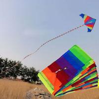 Long 33ft Rainbow Kite Tail Nylon Colourful Delta Kite Accessory Kids Toys