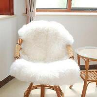 1X White Soft Plain Fluffy Bedroom Faux Fur Fake Single Mat Sheepskin Hairy Rug