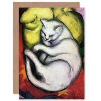 Franz Marc Cat On Yellow Cushion Old Master Blank Greeting Card With Envelope