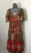 RED HERRING 16 RED PRETTY BOHO SEQUINS LAYERED FRILL SHEER FLOATY LINED DRESS