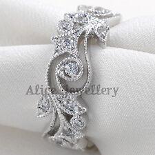 Round CZ White Gold Plated Flower Engagement Wedding Band Eternity Ring Size 7