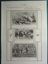 1900 VICTORIAN PRINT QUEEN'S SECOND VISIT TO IRELAND RECEPTION KINGSTOWN HOLYHEA