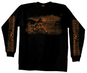 NWT HOT LEATHERS BIKER FOR LIFE MOTORCYCLE HARLEY LONG SLEEVE SHIRT BLACK 3XL