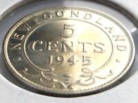 1945 Newfoundland Canada Five 5 Cent Small George VI Whizzed Coin K982