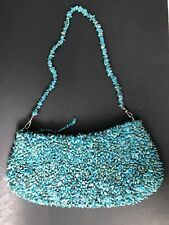 Vintage Inge Christopher Turquoise All-Over Beaded Stones, Zippered Top Closing,