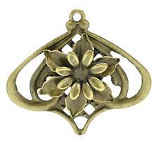 10 Bronze Filigree Flower Lantern Charm Pendants Wraps Connnector Embellishments