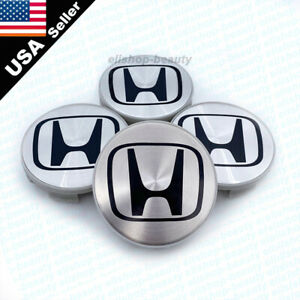4pc silver black logo aluminum wheel center caps for Honda 1999-2005 Civic 58mm