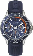 Men's Nautica Pier 25 Multifunction Blue Silicone Band 48mm Watch NAPP25002