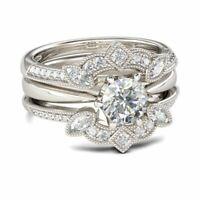 Vintage 14k White Gold Over Diamond Solitaire Enhancer Guard Round Ring Wrap