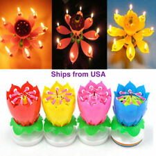 Lot of 4:Lotus Candle Birthday Flower Musical Rotating Floral Cake Candles Music