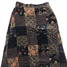 VTG FA Chatta Skirt Sz 9 10 Small Patchwork Floral Birds Long Velvet Maxi Hippy