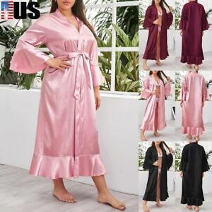 Women Satin Silk Long Night Dress Sleepwear Kimono Gown Robe Bathrobe Plus Size