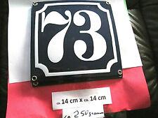 Hausnummer Emaille Nr. 73 weisse Zahl auf blauem Hintergrund 14 cm x 14 cm .....