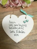 Personalised Will you be my Bridesmaid/Maid of Honour Flower Girl Wooden Gift