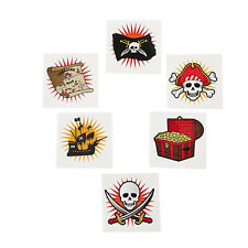 36 Assorted Fun Pirate Kids Temporary Tattoos Party Favors