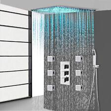 "Cromo 16"" LED grifo de la ducha conjunto de montaje en techo & Masaje Cuerpo Jet Ducha De Mano"