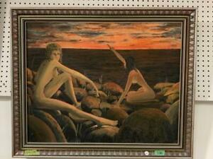 Original Large Vintage Surrealist Oil Painting Young Women Signed Surrealism