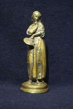 "Vintage BORGHESE of Italy Gilt Sculpture 10 1/2""  Woman with Hat"