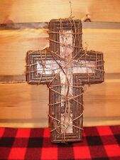 Rustic Adirondack Mountain Birch Bark Cross Crucifix Log Twig Vine Cabin Lake
