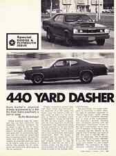 1971 PLYMOUTH DUSTER 440 SIX-PACK  ~  ORIGINAL 3-PAGE ARTICLE / AD