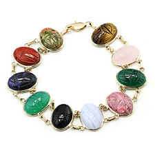 14K Yellow Gold Scarab Double Link Bracelet With Oval Gemstones 8 Inches
