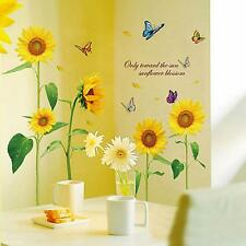 Beautiful Sunflower Butterfly Flying Vinyl Art Home Decor DIY Wall Sticker Sheet