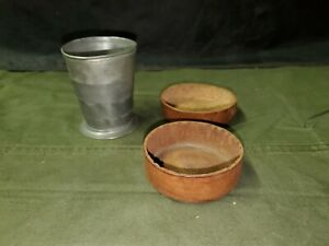 Antique Collapsible Cup with Leather Carrier