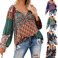 Women Boho Floral V-Neck Long Lantern Sleeve Oversize Blouse T Shirt Tops S-2XL