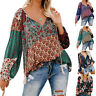 Women Floral Boho Blouse Shirt V-Neck Tops Long Sleeve Hippie Tee Pullover US