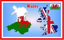 WALES MAP / FLAG - SOUVENIR NOVELTY FRIDGE MAGNET - BRAND NEW - GIFT