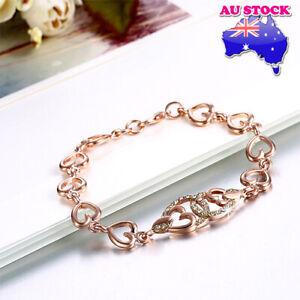 Wholesale 18K Rose Gold Filled Clear Zirconia Crystal  Hollow Love Heart Bracele