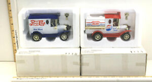 Vintage 1998 Golden Classic Model T Ford Pepsi Cola Coin Bank Cars Pair!