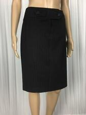 ** BASQUE CITY ** Size 10 Black Pinstripe Corporate Pencil Skirt - (B063)