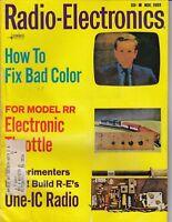1969 Radio-Electronics  magazine - One IC Radio , TV repair + more / h4