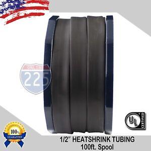 "1/2"" 100 FT. 100 Feet BLACK 13mm Polyolefin 2:1 Heat Shrink Tubing Tube Cable UL"